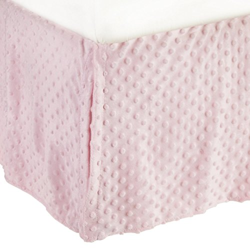 (TL Care Heavenly Soft Minky Dot Tailored Crib Skirt, Pink, for Girls)