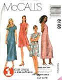 McCall's Sewing Pattern 8108 Misses' Dress in 2 Lengths - 1 Hour Pattern, B ...