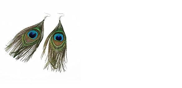GirlZ!Gorgeous Trendy Beauty Peacock Feather Earrings Earrings at amazon
