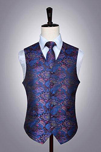 Rosa Fazzoletto Paisley Floral Uomo Cravatta Classico Da E Taschino Hisdern Jacquard Gilet Blu BqAgx