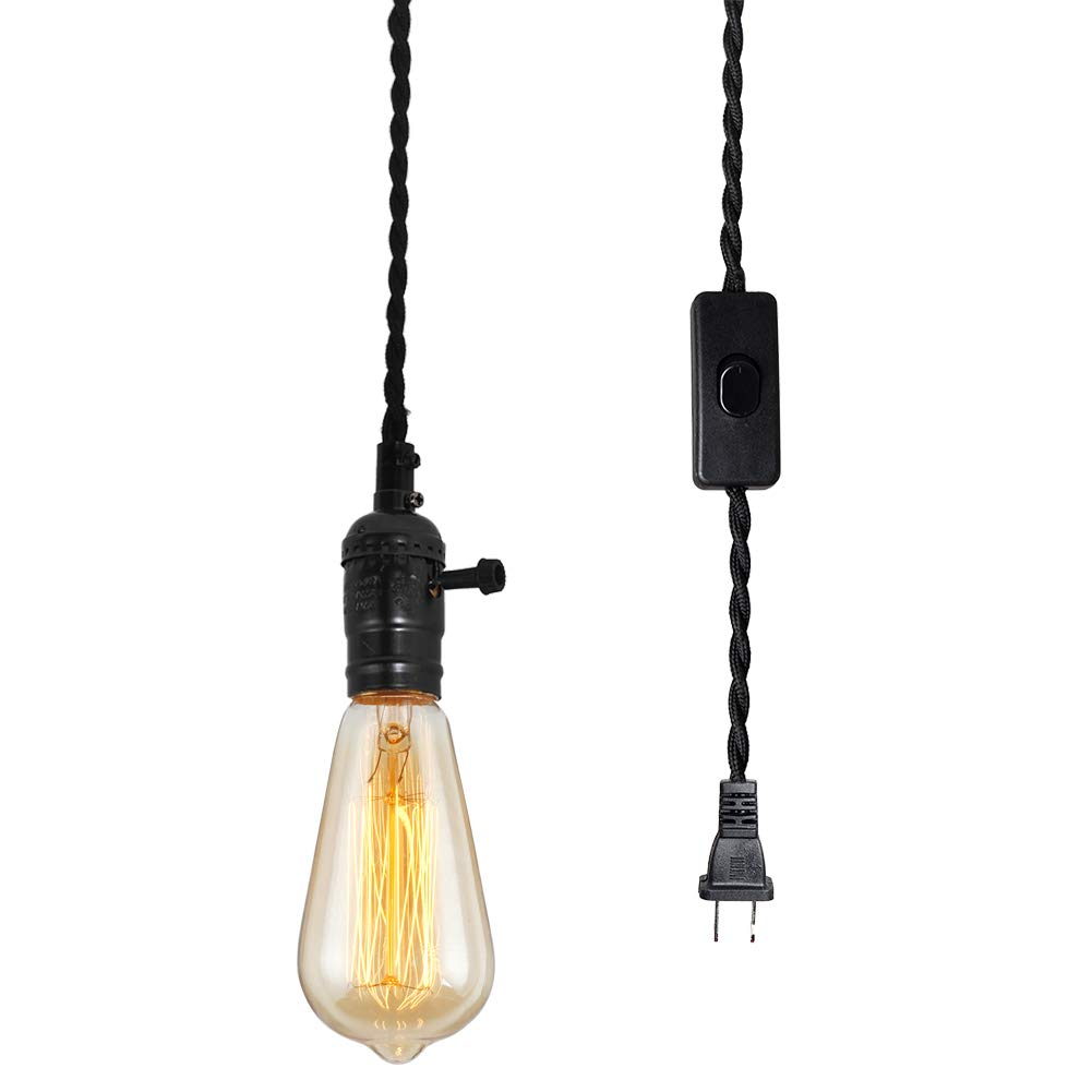 T&A Vintage Single Plug in Pendant Light Kit Cord with Off/On Switch and 15.58 FT Twisted Black Cloth,Black Lamp Head DIY Hanging Light by T&A TALENT AND ART