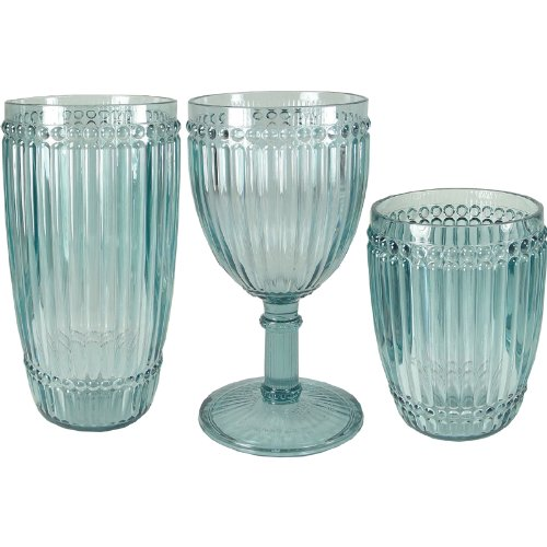 Milano Glassware - Le Cadeaux Milano 12 Piece Set Teal Shatter Proof Glassware