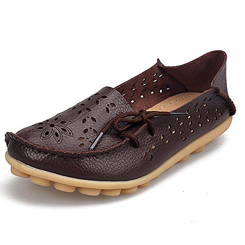 SHIBEVER Women's Leather Loafers Moccasins Wild Driving Casual Flats Oxfords Breathable Shoes Coffee-2 - Loafer Coffee