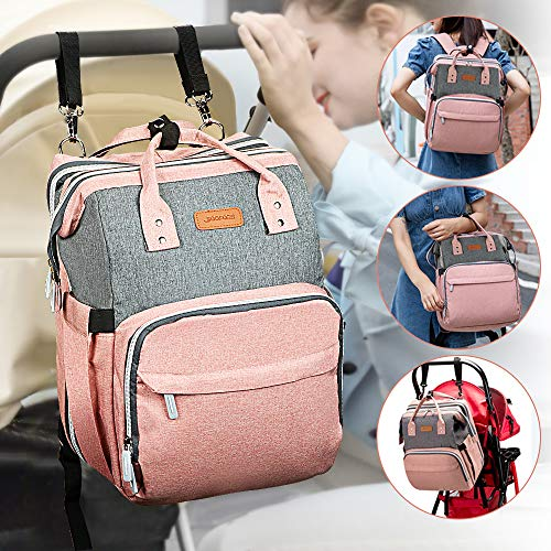 51%2BR9XDVYbL YOOFOSS Diaper Bag Backpack, Baby Nappy Changing Bags Multifunction Travel Back Pack with Changing Pad & Stroller Straps, Large Capacity, Waterproof and Stylish (Pink)    Product Description