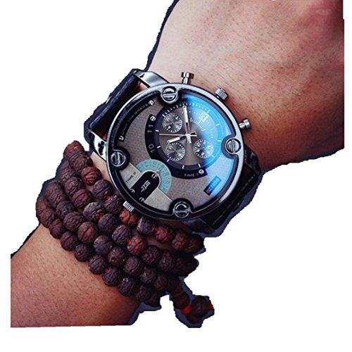 Creazy New Fashion Mens England Big Dial Style Wrist Watch (Black) from Creazydog