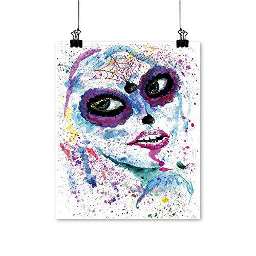 Modern Painting Halloween Girl Sugar Skull Makeup Paint Artwork for Home Decorations,28