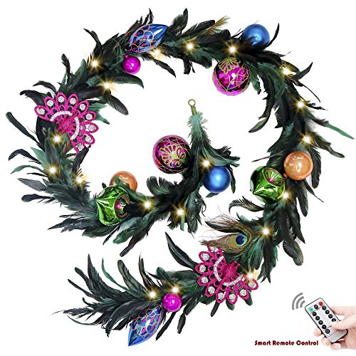 Valery Madelyn 6 Feet/72 Inch Peacock Christmas Garland with Ball Ornaments for Christmas Wedding Party Decoration, Battery Operated 20 LED Lights