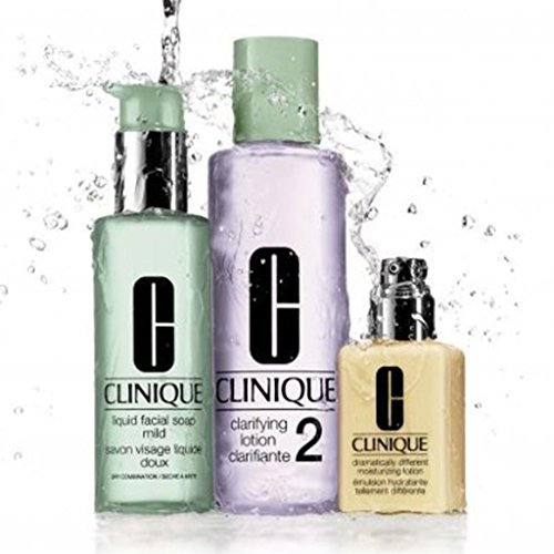 Clinique 3 Steps system for Dry / Dry Combination Skin Set: dramatically moisturizing Lotion 4.2 oz / 125 ml + Clarifying Lotion 2 13.5 oz / 400 ml + Liquid Facial Soap Mild 6.7 oz / 200 ml