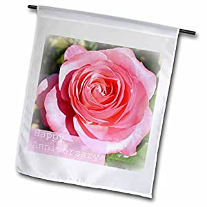 Patricia Sanders Flowers - Happy Anniversary Pink Rose- Flowers- Nature- Marriage - 12 x 18 inch Garden Flag (fl_39263_1)