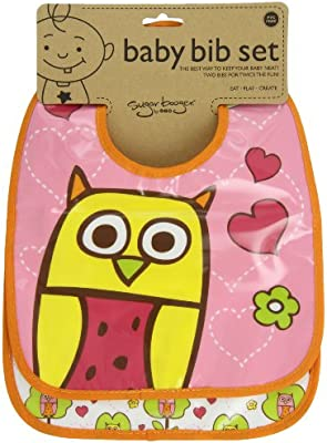 SugarBooger by Ore Mini Bib Gift Set of 2 Hoot