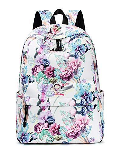 Leaper Floral Backpack for Girls College School Bookbag Travel Daypack Beige