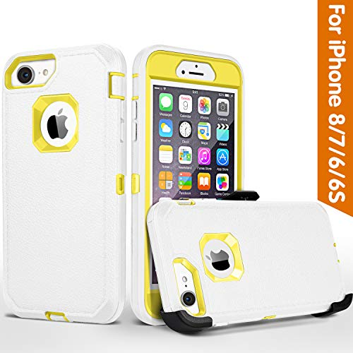 iPhone 8 case,iPhone 7 Case, iPhone 6s Case, FOGEEK Belt-Clip Protective Heavy Duty Kickstand Cover [Shockproof] Cover Compatible for iPhone 8/7/6/6s (NOT Plus) (White and Yellow)