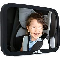 Scadia Espejo Retrovisor Para Bebé | Para Asiento Trasero del Auto | Extra Grande | Ajustable