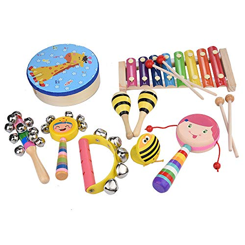 (Hopeg 2019 New Children Game Gift - 9 PCS Kid's Percussion Toy Set Preschool Education Tool with Carrying Case, Birthday Party Prop)