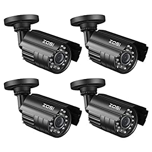 ZOSI 4 Pack Bullet Fake Securtiy Camera with Red Light,Dummy Surveillance Camera Outdoor Indoor Use,Wireless Simulate Cameras for Home Security by ZOSI