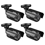 ZOSI 4 Pack Bullet Fake Security Camera with Red Light,Dummy Surveillance Camera Outdoor Indoor Use,Wireless Simulate Cameras for Home Security For Sale