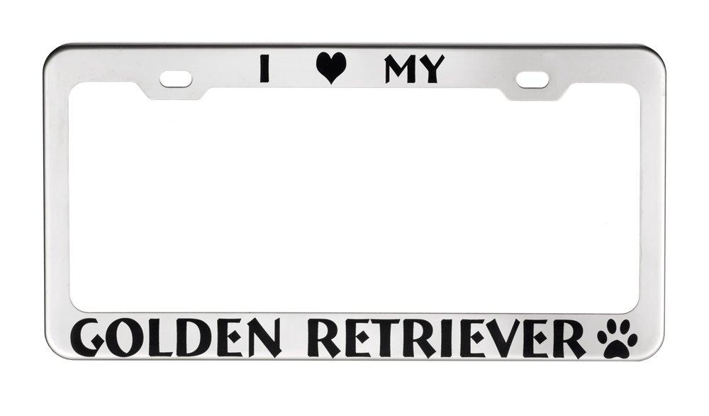 GoPlates License Frames GP-PSS02 Stainless Steel License Plate Frame I Love My Golden Retriever, Polished Finish
