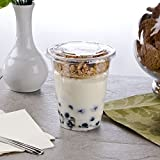 yogurt and granola container - Clear Plastic Cups with lids 16 oz with Parfait Insert and mini spoons- Great for yogurt and granola - set of 50 clear cups -50 flat lids- 50 4 oz. parfait inserts - 50 mini spoons