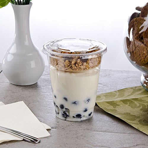 Clear Plastic Cups with lids 16 oz with Parfait Insert and mini spoons- Great for yogurt and granola - set of 50 clear cups -50 flat lids- 50 4 oz. parfait inserts - 50 mini spoons