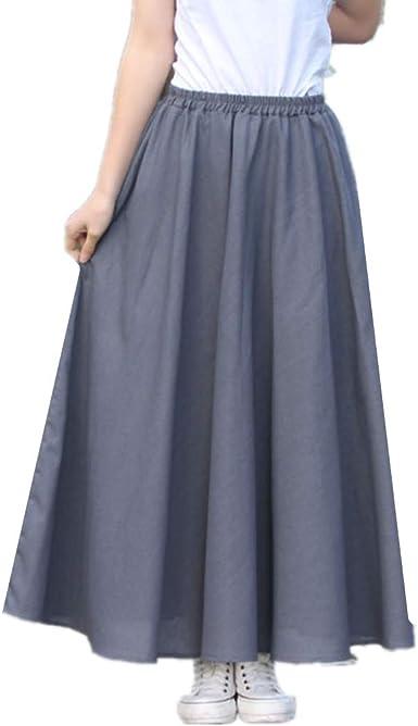 Yying Falda Mujer Retro Largas Suave Cómodo Verano Cintura Elástica Falda de Lino Algodón Faldas Cintura Alta Elegante Maxi Falda para Playa 80cm 90cm: Amazon.es: Ropa y accesorios