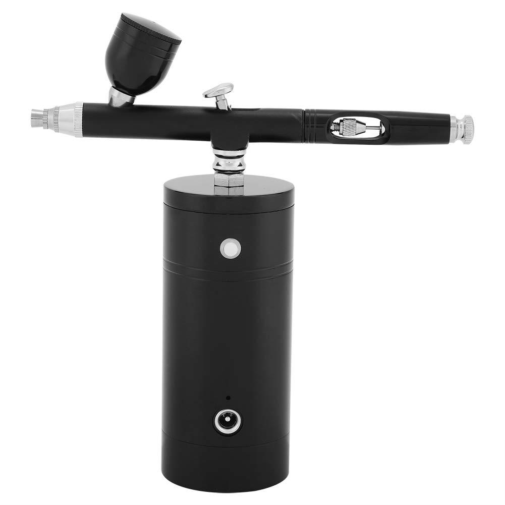 Multi-Purpose Airbrush Set - Mini Air Compressor Spray Gun, Dual Action 0.3mm Airbrush Gun, 7CC Capacity Set for Paint Art Tattoo Nail Design (Color : Black)