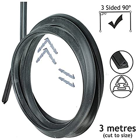 Spares2go 3m Cut to Size Door Seal For Bompani Spinflo Caravan 3 Sided Oven Cooker 90º Clips