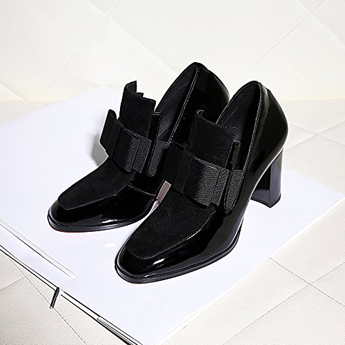 JF New 100% Red Soles Square Toe Leather Shoes Lady Black Sexy Ql96RvZ