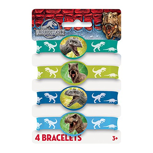 Jurassic World Silicone Wristband Party Favors, 4ct (Jurassic World Rubber Bracelets)