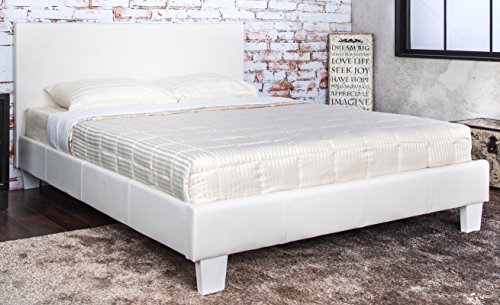 Furniture of America Rhinox Leatherette Platform Bed, Eastern King, White