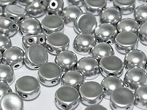 25pcs cabochon Bead–Impresión Checa Perlas semiesférico 6x 4mm, 2orificios, aluminio Silver