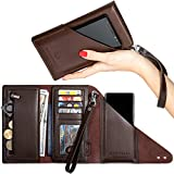 Marsyella RFID Wallets for Women + Wrist Strap – Credit Card & Passport Holder for Women - RFID blocking Leather Travel Wallet - Large Brown Wristlet Wallet with Cell Phone Holder – V 2.0