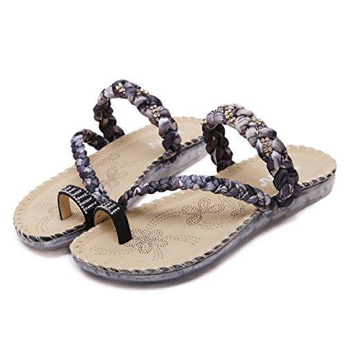 Sandalias Btrada Para Mujer Antideslizante Sandalia Característico Estilo Bohemia Plano Zapatos Negro