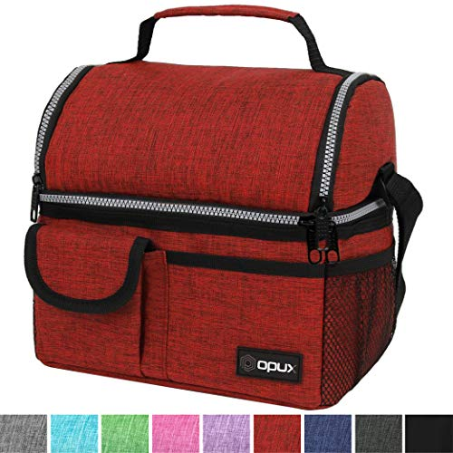 OPUX Insulated Dual Compartment Lunch Bag for Men, Women | Double Deck Reusable Lunch Pail Cooler Bag with Shoulder Strap, Soft Leakproof Liner | Large Lunch Box Tote for Work, School (Red)