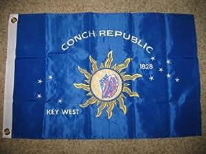 2 x 3 Llave bordada West Conch Republic bandera de doble cara de nailon 300D 2 clips mejor jardín Outdor Decor material de poliéster FLAG Premium color vivo y resistente a la decoloración UV