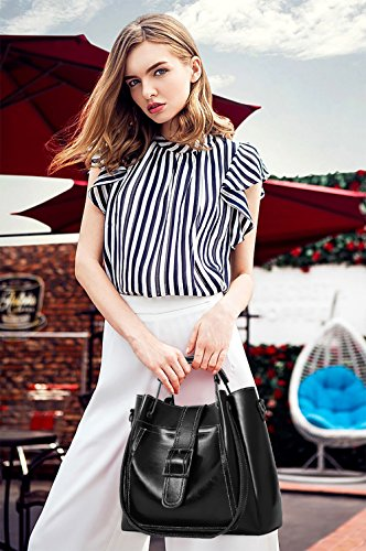Retro Tisdaini Bag Messenger Wallet Bag Bag Sets Black Handbag Mother of Oil New Bag Female Soft Women's 3 Shoulder rRZ7RWT4