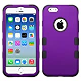 Iphone 6, 6s Travel Case Holder Purple Black Armor Two Layer and Cleaning Cloth and Protector