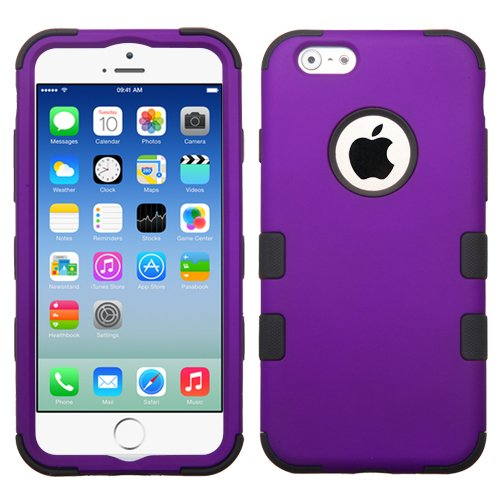 iPhone 6S Case, iPhone 6 Case, Rock Me Wireless (TM) 3 items Bundle - Screen Protector, 24K Gold Plating Sticker and Triple Layers Hybrid Protector Case Cover. (Grape / Black)