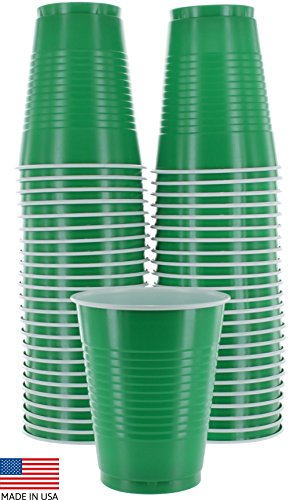 Amcrate Green Colored 16-Ounce Disposable Plastic Party Cups - Ideal for Weddings, Party?s, Birthdays, Dinners, Lunch?s. (Pack of 50)