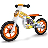 Rovo Kids Wooden Motorcross Balance Bike, White and Orange