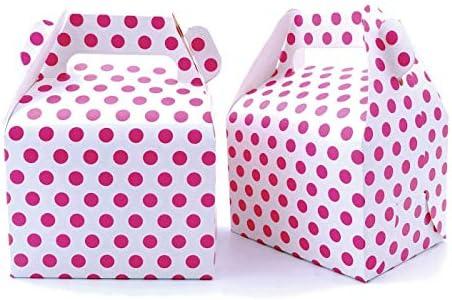 JZK 25 x Rosa Lunares Cajas de Fiesta cajitas de Regalo bocadillos Dulces para cumpleaños de niños: Amazon.es: Hogar