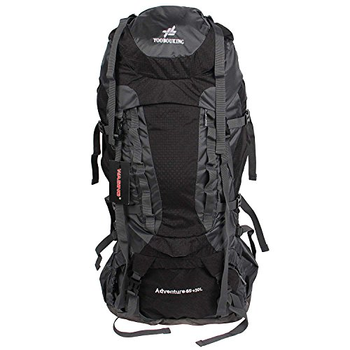 WASING 75L Internal Frame Backpack for Outdoor Hiking Travel Climbing Camping Mountaineering with Rain Cover(Black)