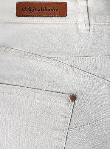 oodji Ultra Mujer Vaqueros Ajustados Básicos Blanco (1200N)
