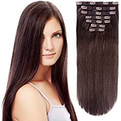 """Clip in Hair Extensions Triple Weft 20"""" Straight Heat-Resisting Fiber Hairpiece #4 Chocolate Brown 7Pcs 140g"""