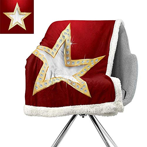 Diamond Decor Collection Lightweight Fluffy Flannel and Sherpa Blanket,Polished Blowing Star with Crystal Silver Flash Diamonds Show Celebration Party Decor,Red Golden,Coverlet W59xL31.5 Inch (Charcoal Silver Bamboo Tails)
