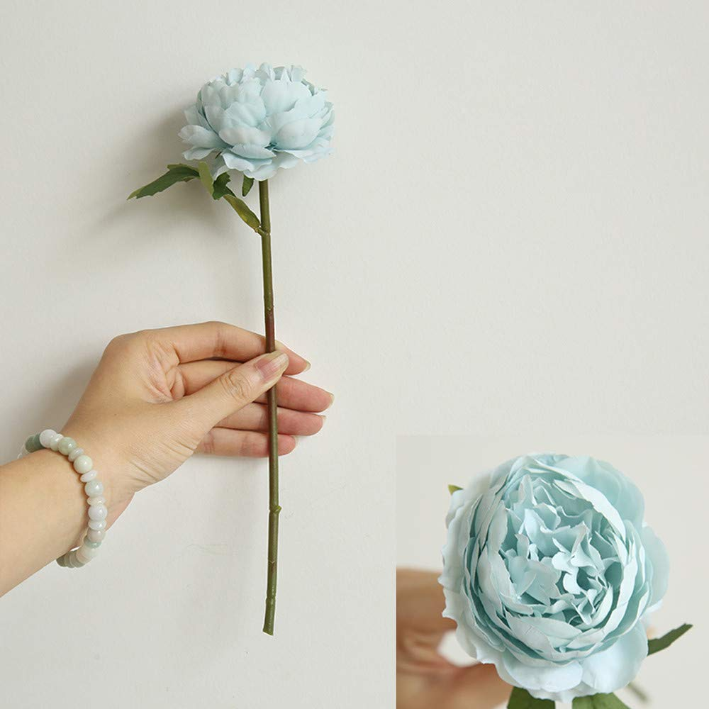 vmree Simulation Flower, Single Artificial Peony Branch Lifelike Fake Floral Bouquet for Wedding Bridal Party Home Decor (Blue)