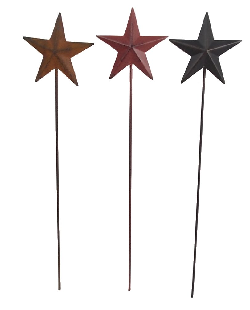 Craft Outlet Tin Star on Stick Table Topper, 3.5 by 0.25 by 14.5-Inch, Set of 6 Craft Outlet Inc T0951