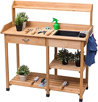 Garden Potting Bench Lawn Patio Table Storage Shelf Work Station