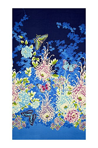 Fabri-Quilt 0459201 Flights of Fancy 23in Panel Asian Blue - Asian Fabric Quilt