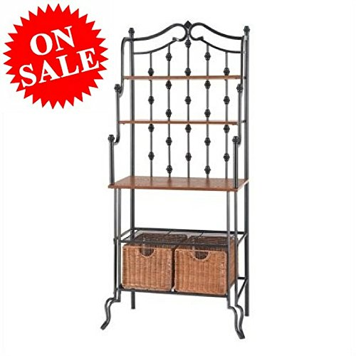 Black Baker's Rack with Storage Iron Heavy-Duty Rustic Baker's Rack Cabinet with Metal Wire Shelves and Baskets 4-Tier Bakers Storage Rack eBook by Easy&FunDeals -