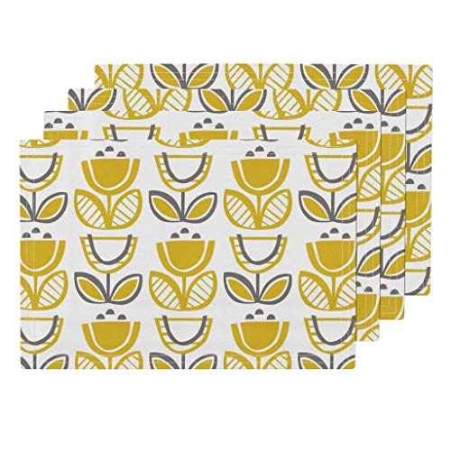 Promini Heat-Resistant Placemats, Mod Floral Buttercup Yellow Washable Polyester Table Mats Non Slip Washable Placemats for Kitchen Dining Room Set of 4